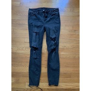 Black/Gray Distressed Ankle Skinny Jeans